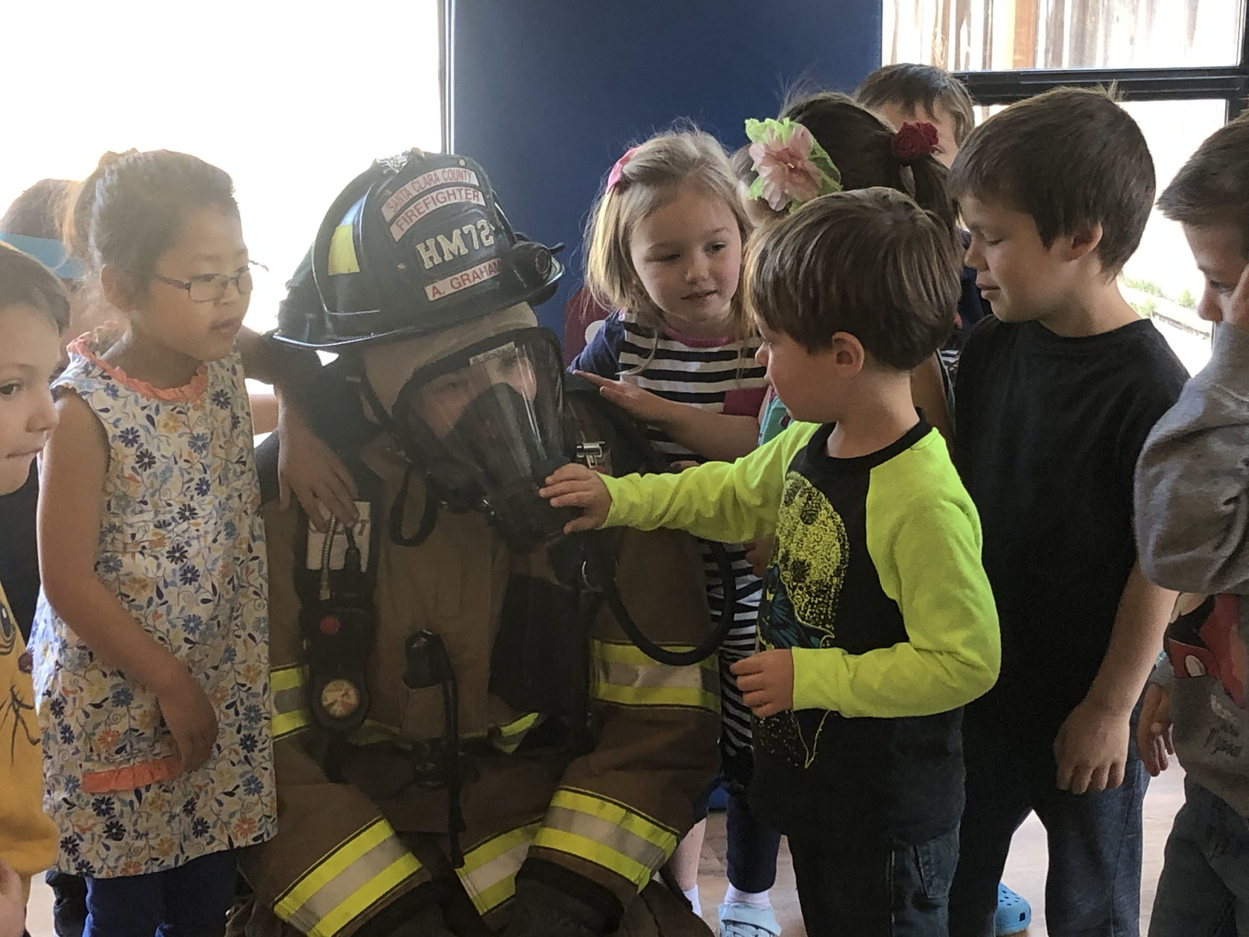 Special Events - students get a special visit from a firefighter